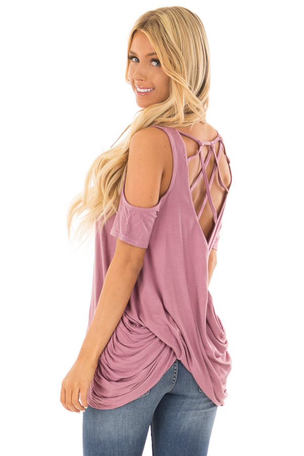 Mauve Cold Shoulder Top with Back Detail back side close up