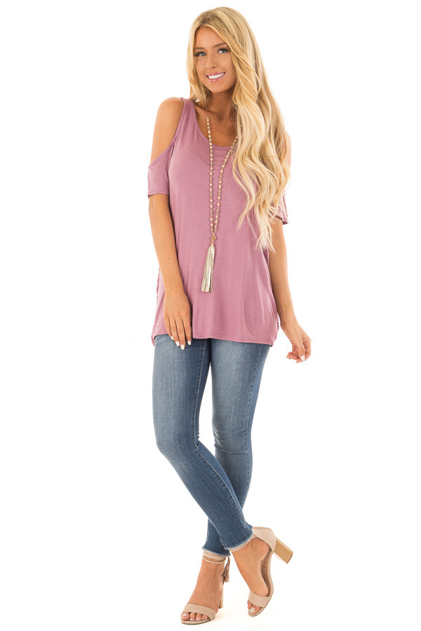 Mauve Cold Shoulder Top with Back Detail front full body