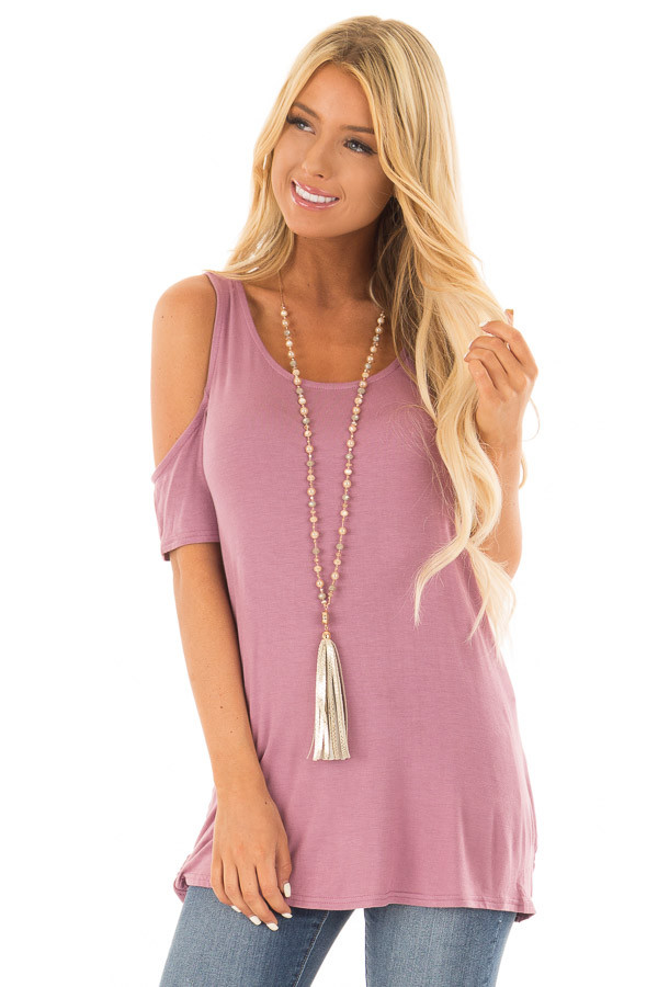 Mauve Cold Shoulder Top with Back Detail front close up