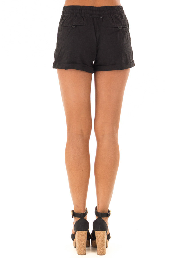 Black Drawstring Shorts with Side Pockets back view