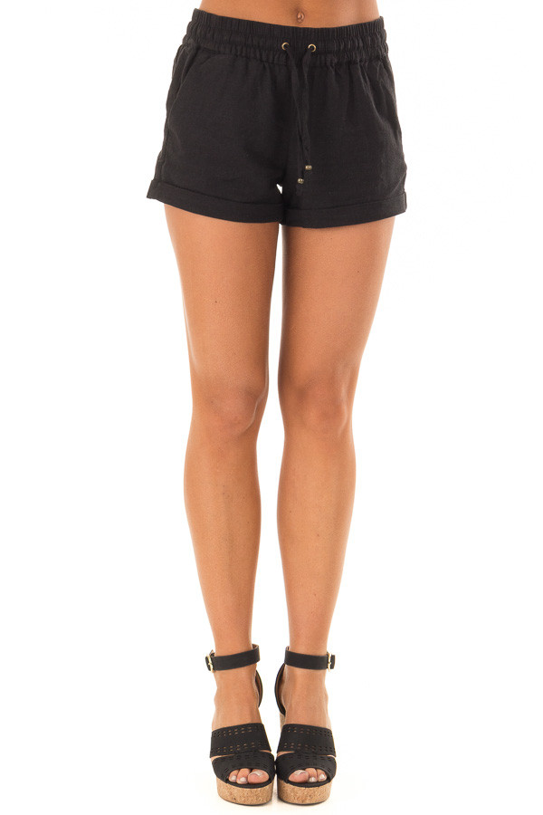 Black Drawstring Shorts with Side Pockets front view