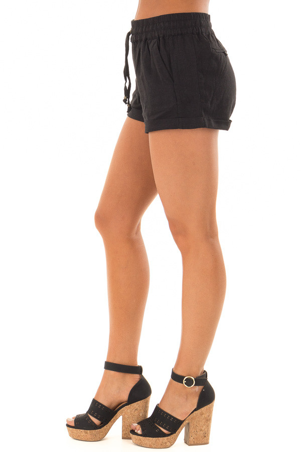 Black Drawstring Shorts with Side Pockets side view