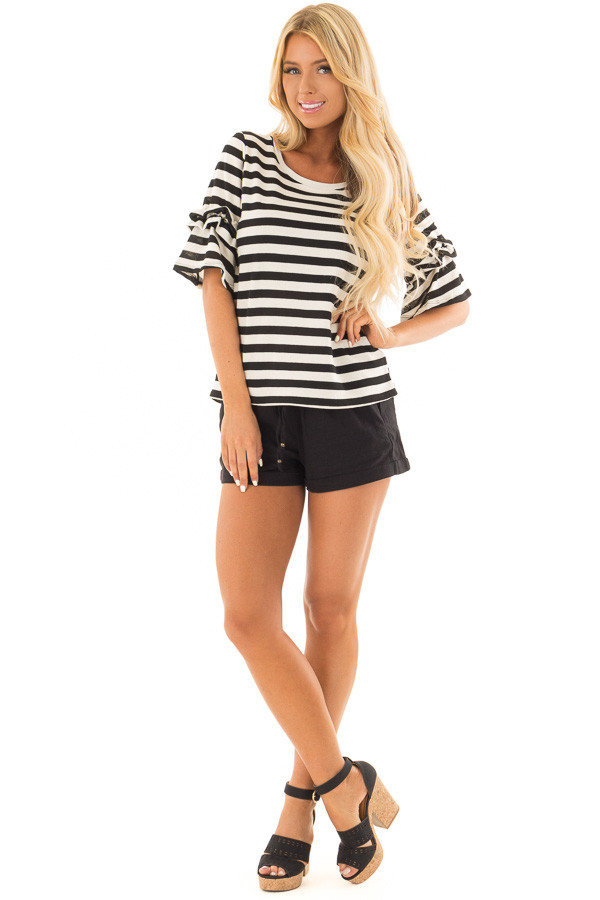 Black Drawstring Shorts with Side Pockets front full body