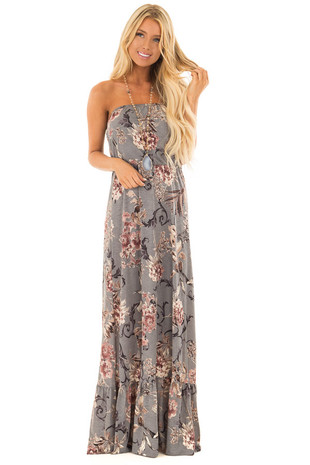 Deep Grey Floral Print Sleeveless Dress front full body