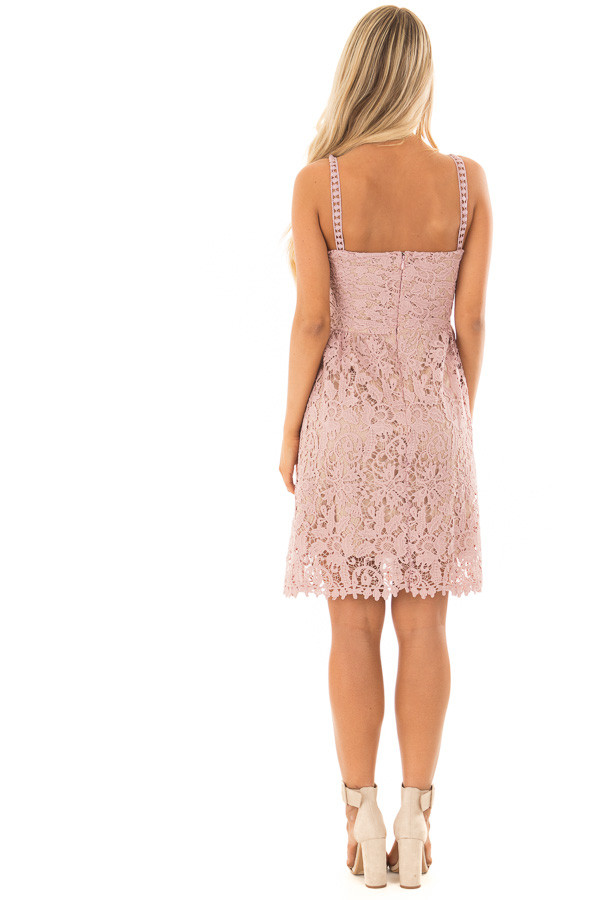 Dusty Rose Floral Crocheted Lace Dress with Contrast back full body