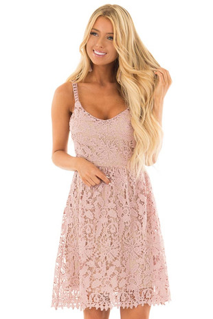 Dusty Rose Floral Crocheted Lace Dress with Contrast front close up