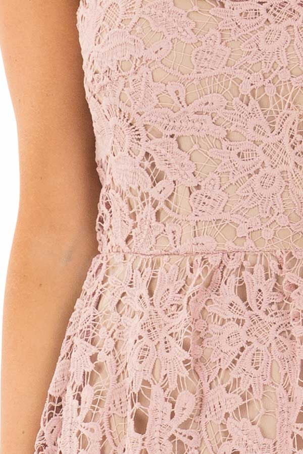 Dusty Rose Floral Crocheted Lace Dress with Contrast detail
