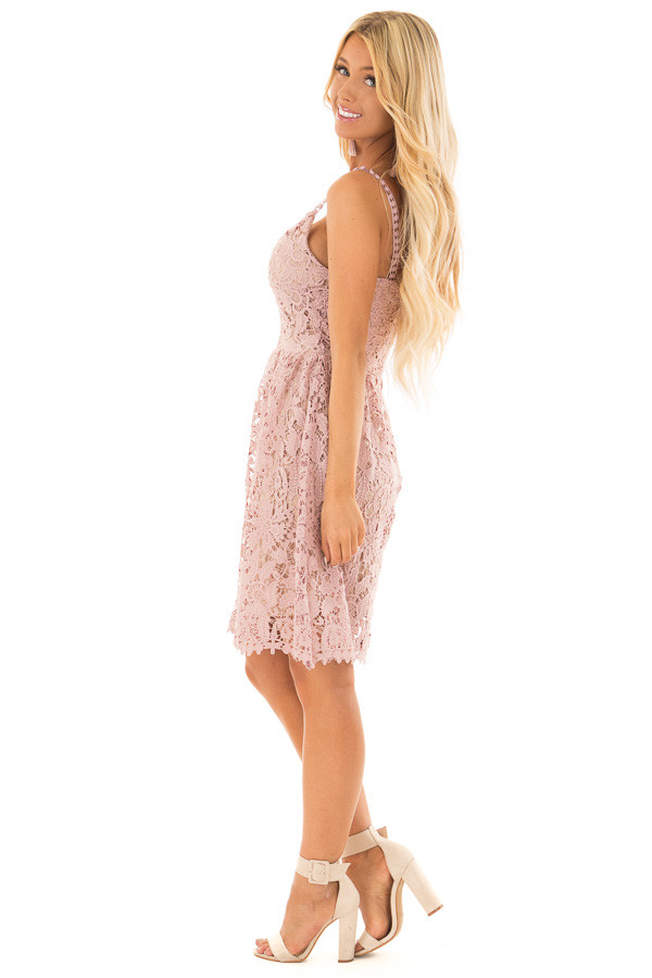Dusty Rose Floral Crocheted Lace Dress with Contrast side full body
