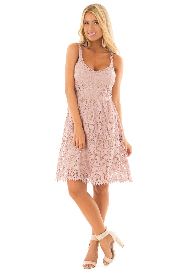 Dusty Rose Floral Crocheted Lace Dress with Contrast front full body