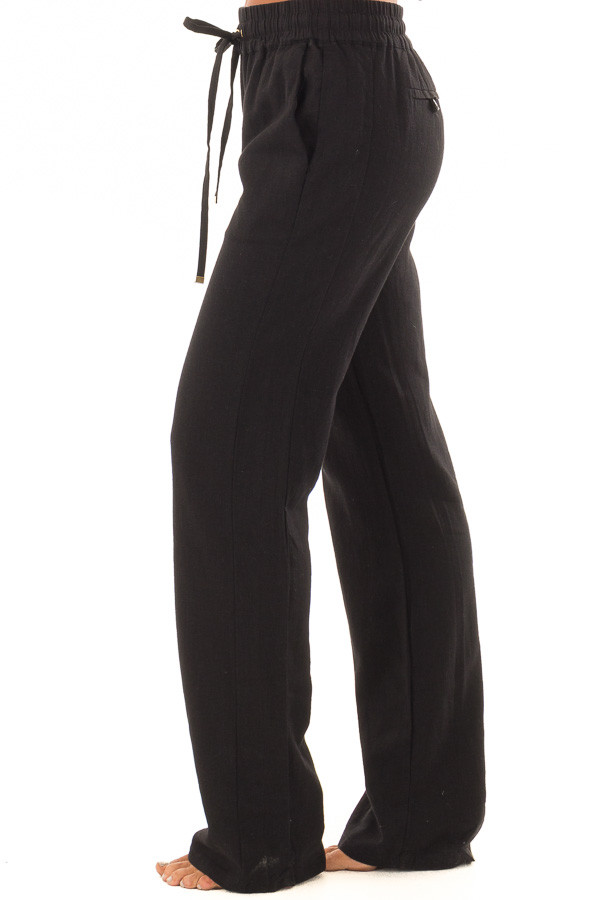Black Linen Pants with Waist Tie and Side Pockets side view