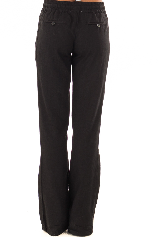 Black Linen Pants with Waist Tie and Side Pockets back view