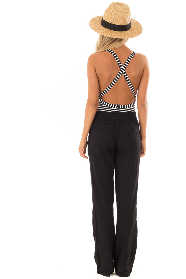 Black Linen Pants with Waist Tie and Side Pockets back full body