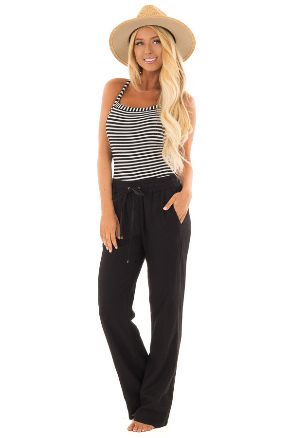 Black Linen Pants with Waist Tie and Side Pockets front full body