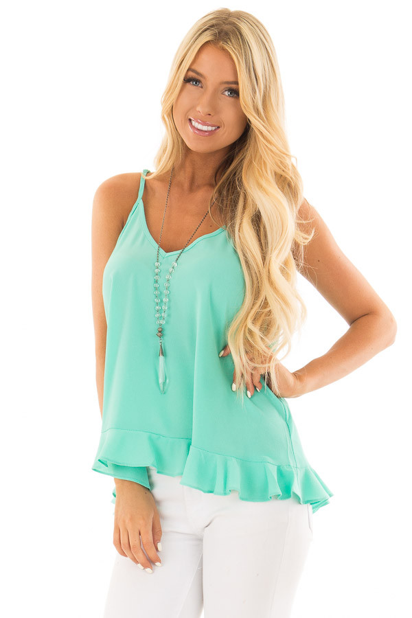Jade Tank Top with Ruffle Hemline front close up