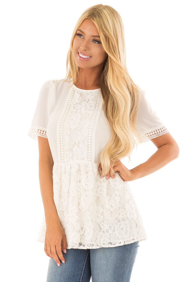 Ivory Babydoll Lace Detail Top with Zipper Back front close up