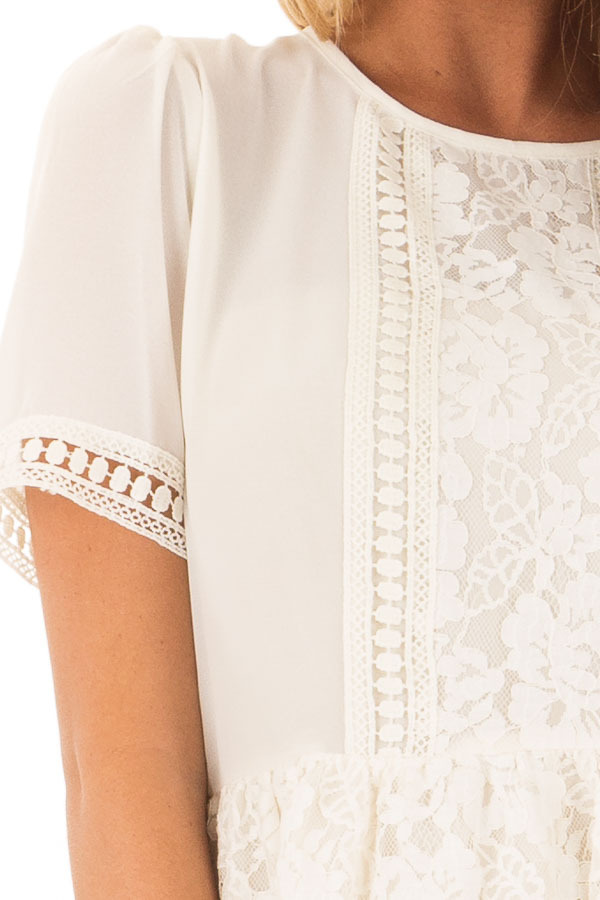 Ivory Babydoll Lace Detail Top with Zipper Back detail
