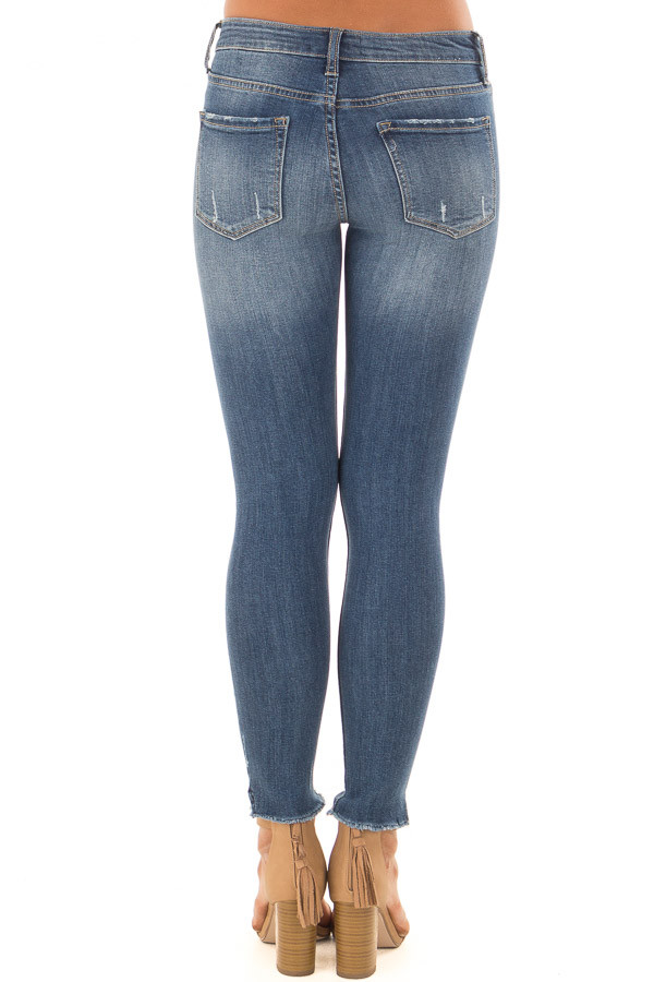 Denim Blue Mid Rise Button Up Skinny Ankle Jeans back view