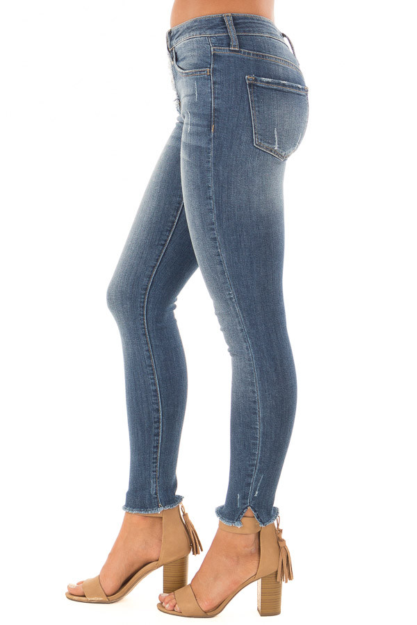Denim Blue Mid Rise Button Up Skinny Ankle Jeans side view