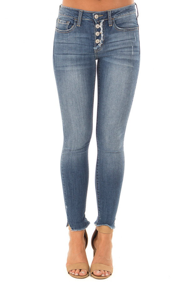 Denim Blue Mid Rise Button Up Skinny Ankle Jeans front view
