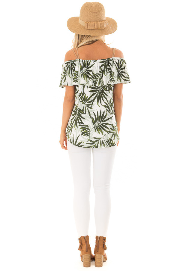 Deep Green Leaf Print Off the Shoulder Top with Suede Straps back full body