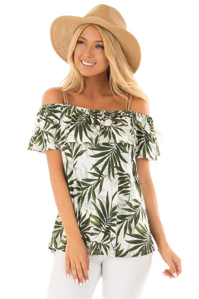 Deep Green Leaf Print Off the Shoulder Top with Suede Straps front close up