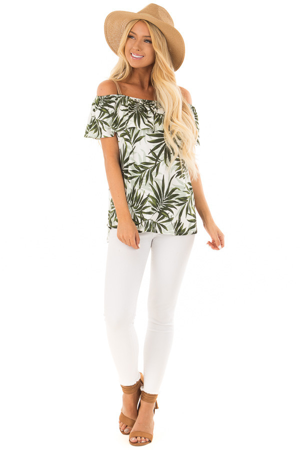 Deep Green Leaf Print Off the Shoulder Top with Suede Straps front full body
