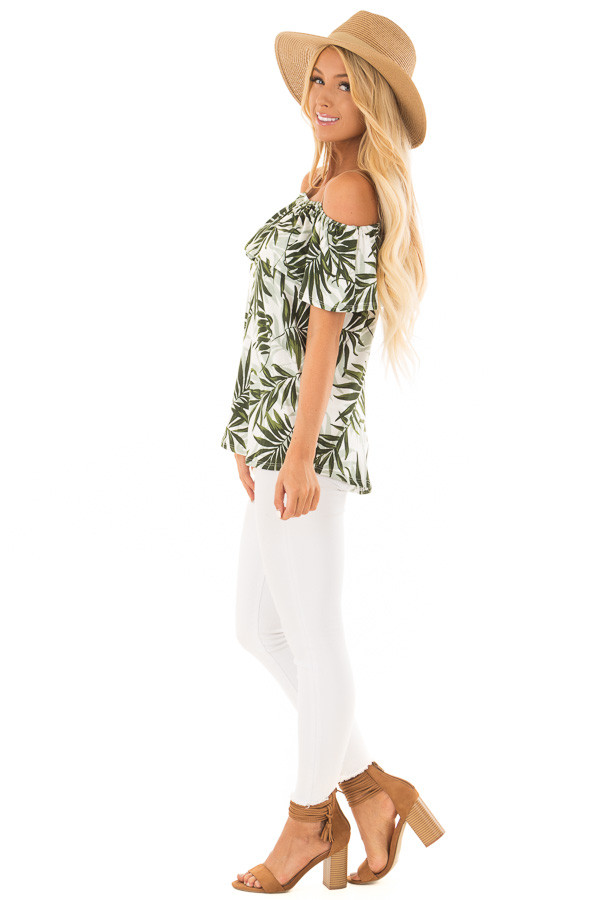 Deep Green Leaf Print Off the Shoulder Top with Suede Straps side full body