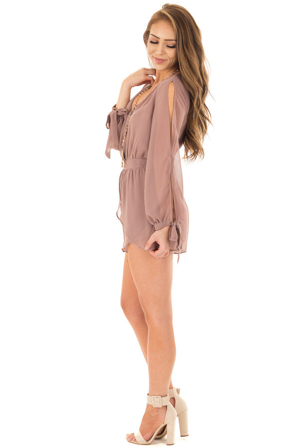Light Mocha Long Sleeve Romper with Overlay Detail side full body