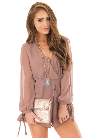 Light Mocha Long Sleeve Romper with Overlay Detail front close up