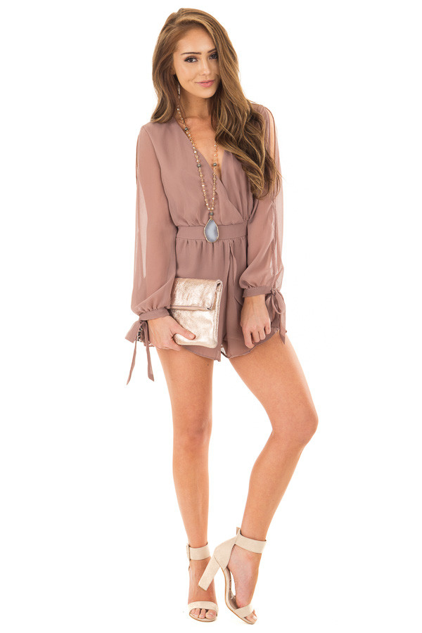 Light Mocha Long Sleeve Romper with Overlay Detail front full body