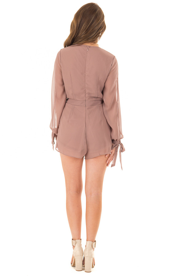 Light Mocha Long Sleeve Romper with Overlay Detail back full body