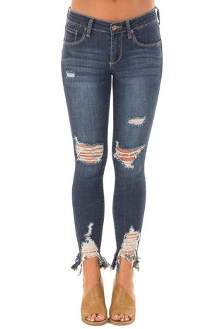 Dark Wash Cropped Distressed Skinny Jeans front view