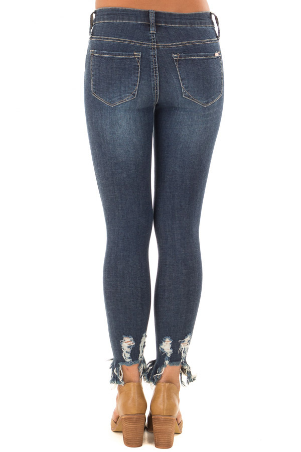 Dark Wash Cropped Distressed Skinny Jeans back view