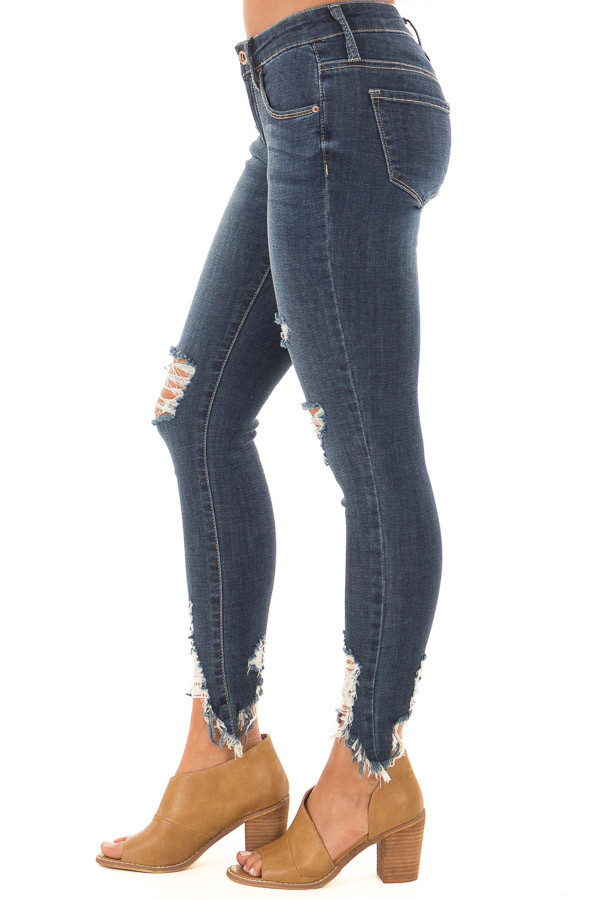 Dark Wash Cropped Distressed Skinny Jeans side view