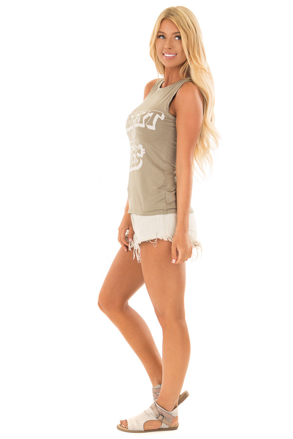 Olive 'Desert Vibes' Tank Top with Graphic Detail side full body