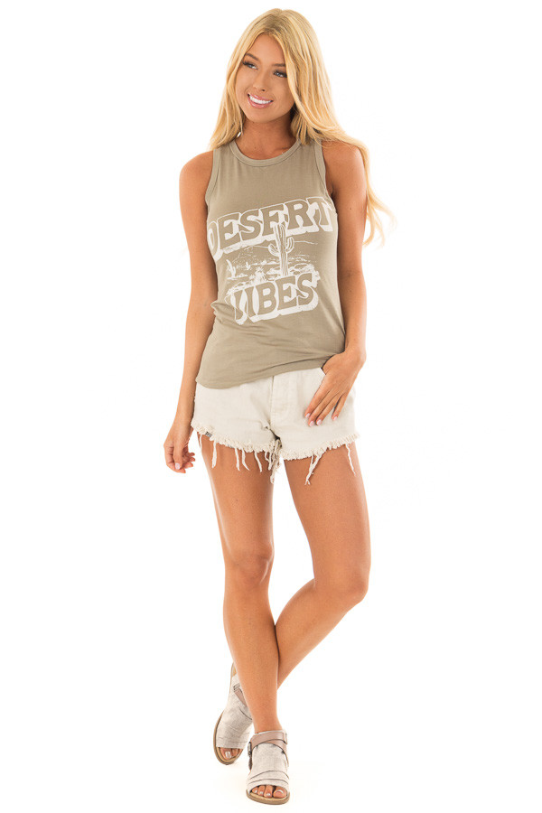 Olive 'Desert Vibes' Tank Top with Graphic Detail front full body