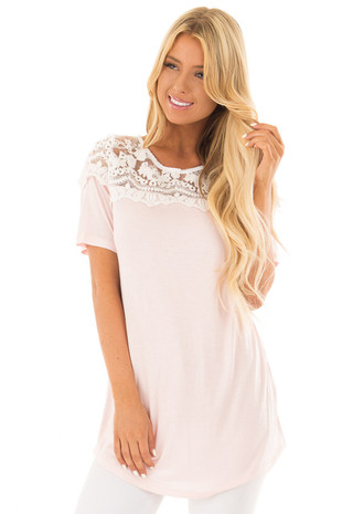 Pastel Pink Short Sleeve Top with Sheer Lace Shoulder Detail front close up