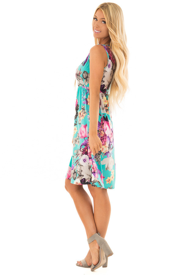 Light Jade Floral Print Tank Dress with Pockets side full body