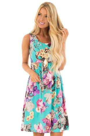 Light Jade Floral Print Tank Dress with Pockets front close up