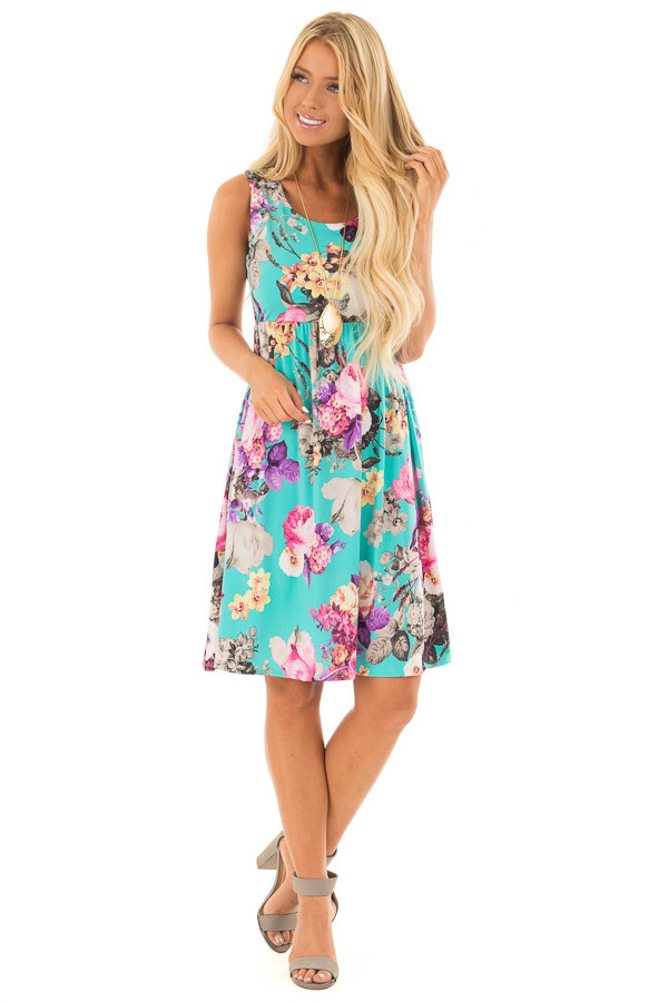 Light Jade Floral Print Tank Dress with Pockets front full body