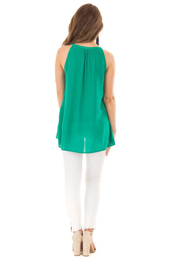 Jade Embroidered High Neck Tank Top with Tassel Detail back full body