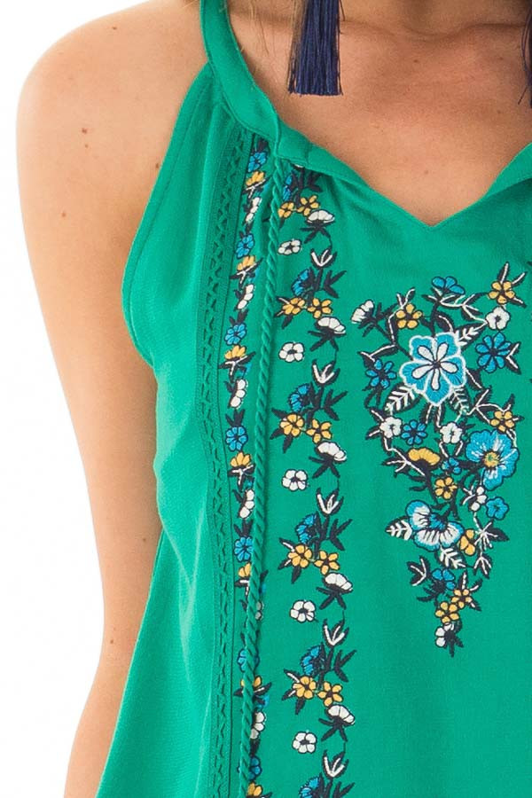 Jade Embroidered High Neck Tank Top with Tassel Detail detail