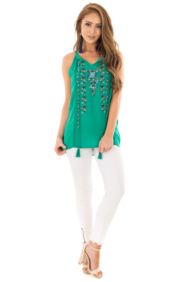 Jade Embroidered High Neck Tank Top with Tassel Detail front full body
