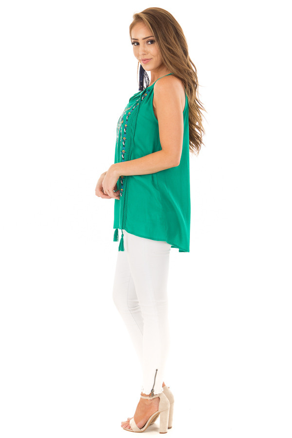 Jade Embroidered High Neck Tank Top with Tassel Detail side full body