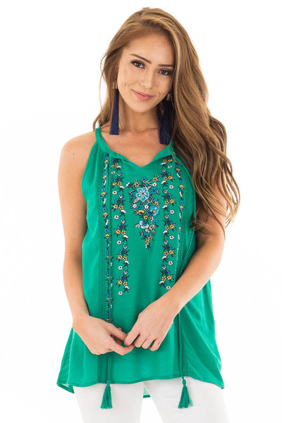 Jade Embroidered High Neck Tank Top with Tassel Detail front close up