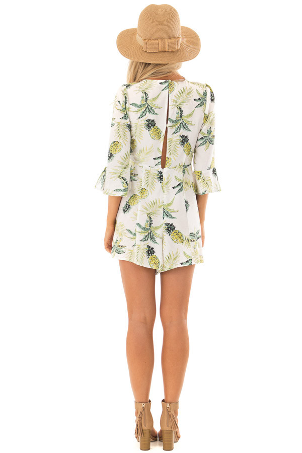 White Pineapple Print Romper with Front Tie back full body