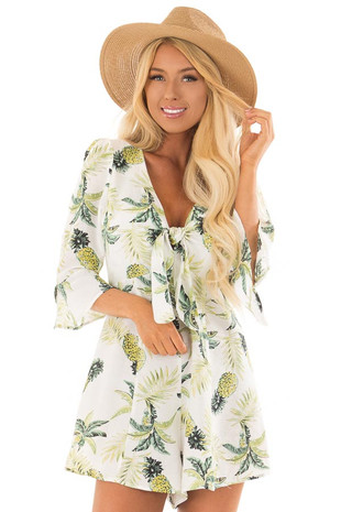 White Pineapple Print Romper with Front Tie front close up