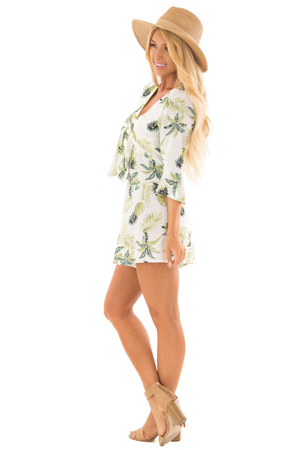 White Pineapple Print Romper with Front Tie side full body