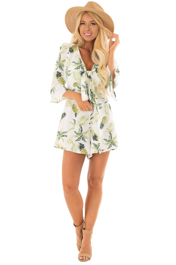 White Pineapple Print Romper with Front Tie front full body