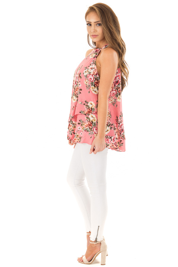 Punch Pink Floral Print High Neck Tank Top side full body